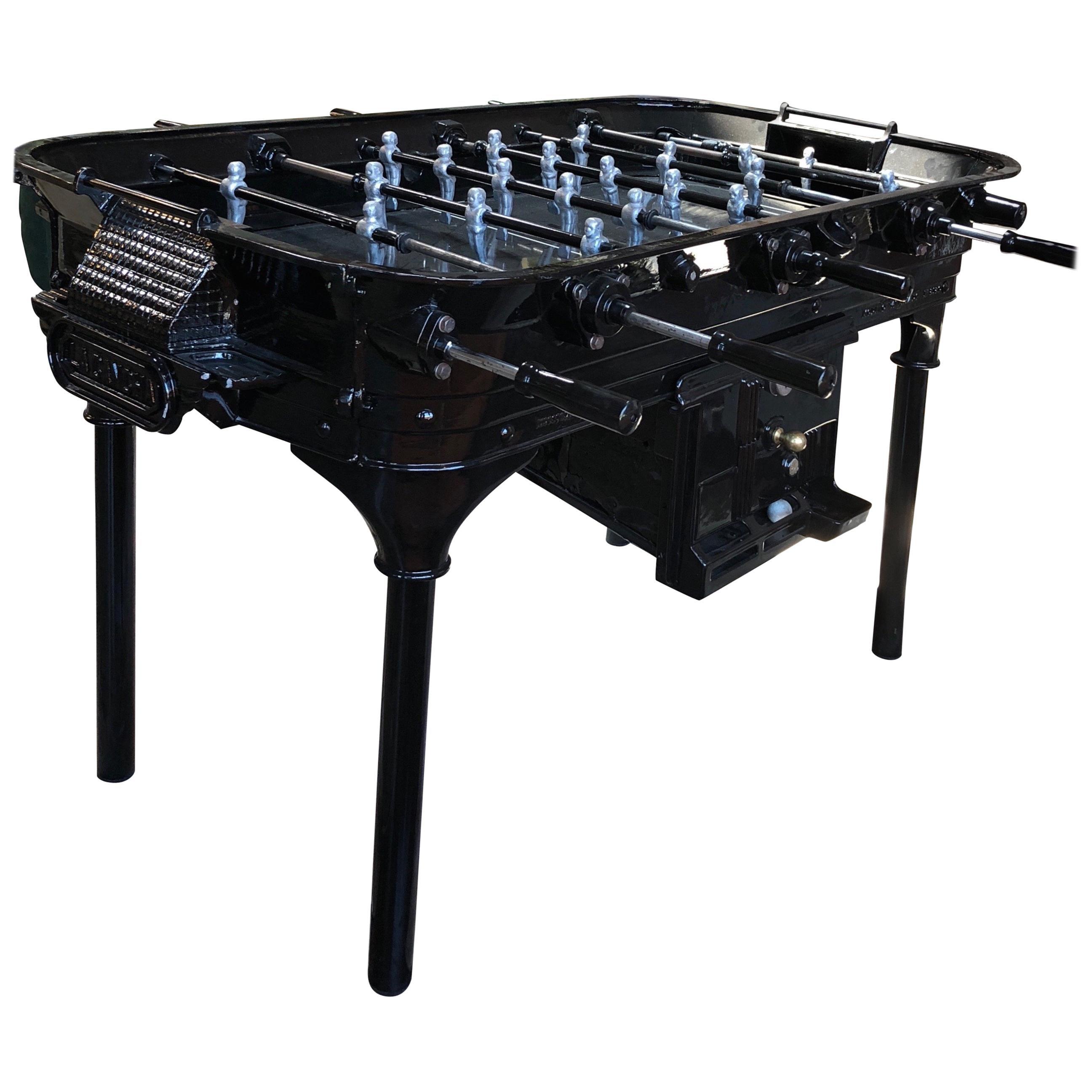 Vintage 1930 Black Foosball Table Signed La Cancha, Argentina For Sale