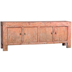 Indian Rose Pink Long Painted Buffet Credenza Chinese, circa 1940