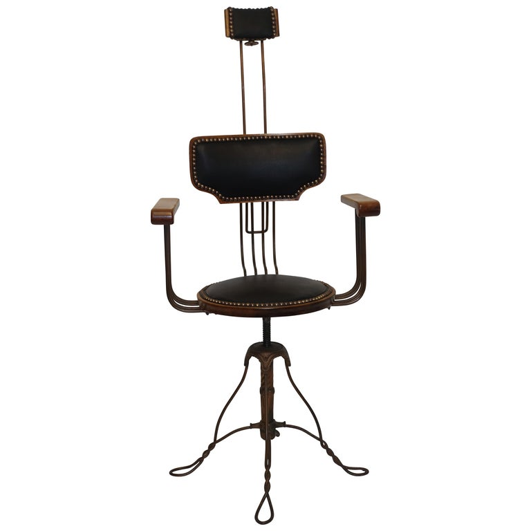 Multi Adjustable Barber's Chair, American Early 20th Century For Sale