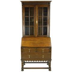 Antique Secretary Desk, Fall Front Desk, Oak Bookcase, Scotland, 1920