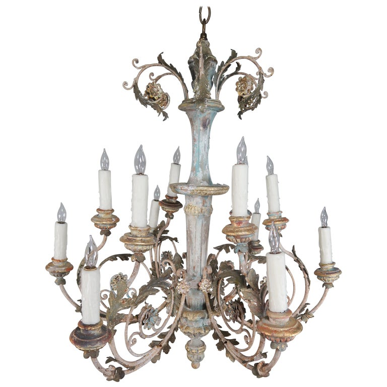 Italian Painted Scrolled Wood and Metal Chandelier