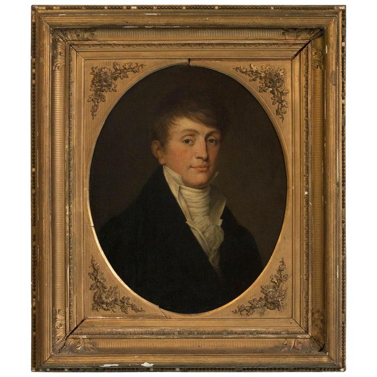 Antique Oil on Canvas Portrait of a Gentleman