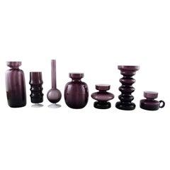 Collection of Swedish Art Glass, Seven Purple Vases in Modern Design