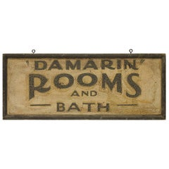 "1930s Hand Painted Wood Sign "" Rooms And Bath """
