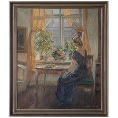 Original Oil on Canvas Painting of Woman Seated at Window by Robert Panitzsch