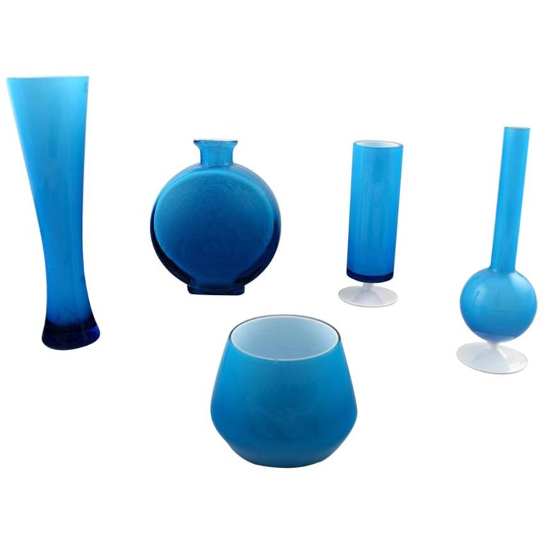 Collection Of Swedish Art Glass Five Turquoise Vases In Modern
