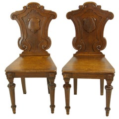 Antique Oak Hall Chairs, Regency Hall Chairs, Scotland, 1820, B1089