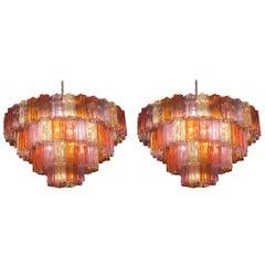 Pair of Midcentury Multicoloured Murano Glass Chandelier by Zuccheri for Venini