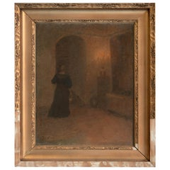 Original Oil on Canvas Interior Painting of Woman in Hallway