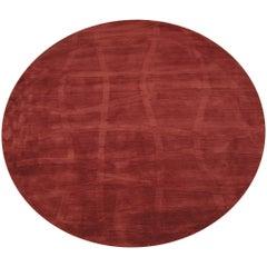 Modern Round Burgundy Sculptured Wool Rug