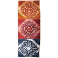 Contemporary & Monumental Vasarely Inspired Handmade Felt Tapestry Wall Hanging