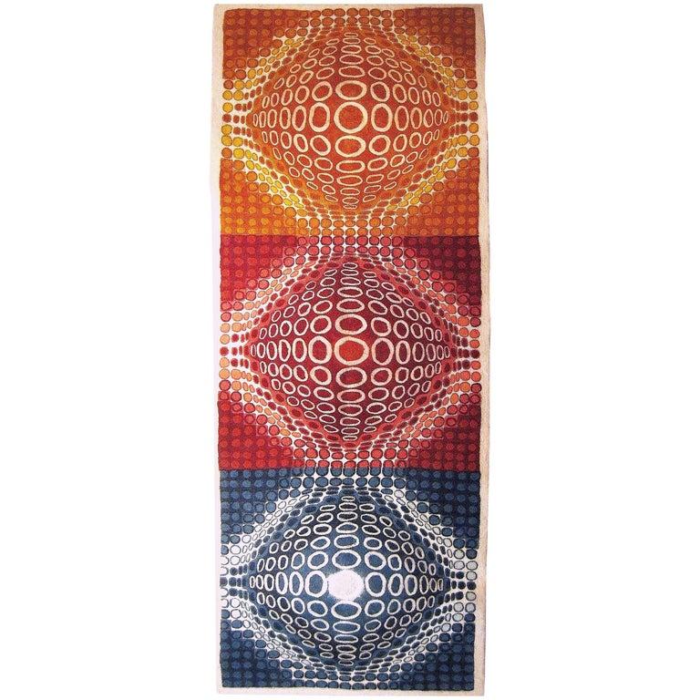 Contemporary & Monumental Vasarely Inspired Handmade Felt Tapestry Wall Hanging