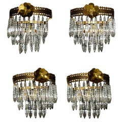 Elegant Set of Four French Crystals Sconces