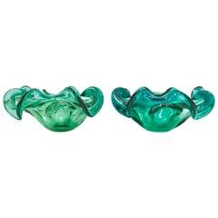 1950s Pair of Italian Murano Glass Ruffle Bowls