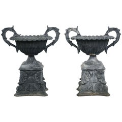 Pair of Neoclassical Style Urns Outdoor Planters