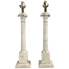Pair of Italian Carrera Marble Column Lamps