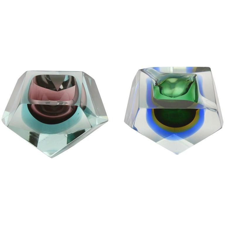 Italian Murano Sommerso Flavio Poli Glass Bowl/Dish/ Vide Poche
