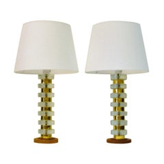 Pair of Glass and Brass Table Lamps on a Teak Foot, Sweden