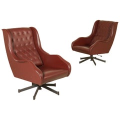 Pair of Swivel Armchairs Leatherette Metal Vintage, Italy, 1960s