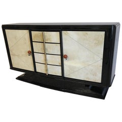 1930s Art Deco Black and Parchment Sideboard