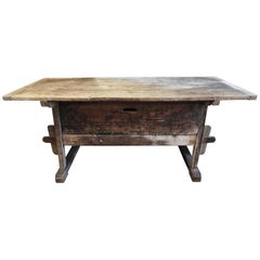 19th Century Italian Warn Pine and Poplar Country Side Table with Drawer