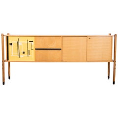 Roberto Aloi Oakwood and Abstract Pattern Printed Plastic Italian Sideboard