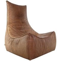 Gerard Van Den Berg Modern Rock Lounge Chair in Cognac Leather, 1970s Montis