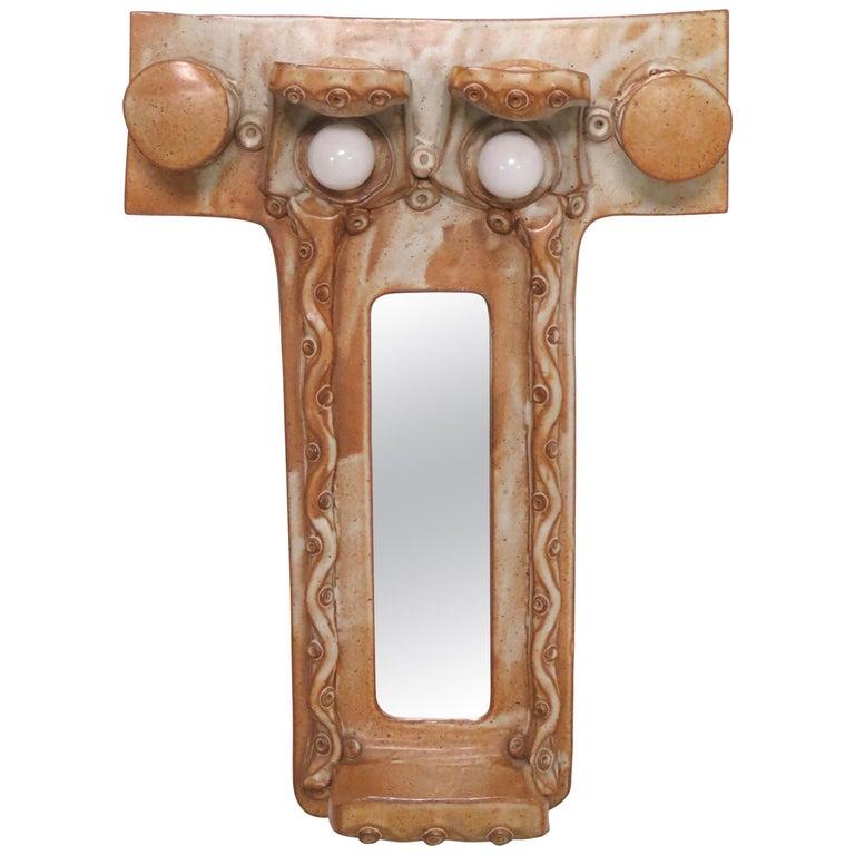 Michael Cohen Studio Pottery Lighted Hall Mirror, circa 1970s