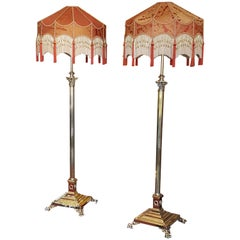 Pair of Early 20th Century Brass Telescopic Standard Lamps