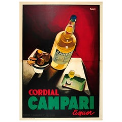Large Original Vintage Drink Poster by Nizzoli for Cordial Campari Liquor Milano