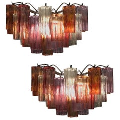 Pair of Midcentury Colored Murano Glass Scones by Tony Zuccheri for Venini
