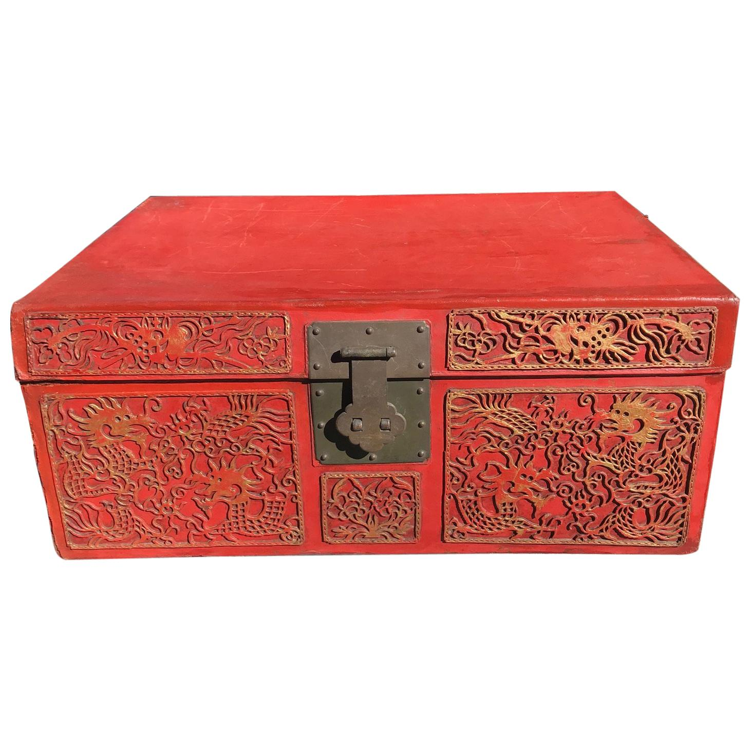 Chinese Antique Brilliant Red Lucky Leather Storage Trunk, Qing Dynasty For  Sale