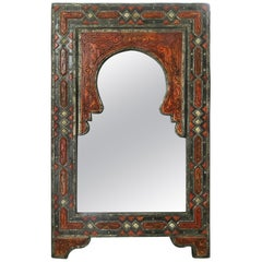 Authentic Wood Bone and Silver Overlay Moroccan Mirror