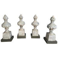 Two Pairs of 19th Century French Zinc Flame Finials