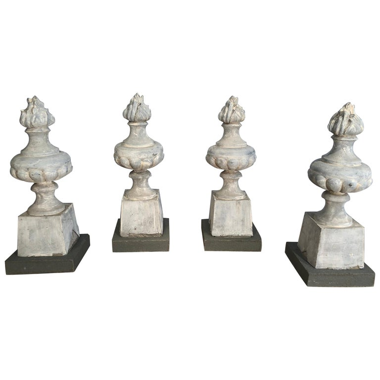 Two Pairs of 19th Century French Zinc Flame Finials For Sale