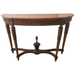 Classically Elegant 19th Century French Carved Walnut Demilune Console Table