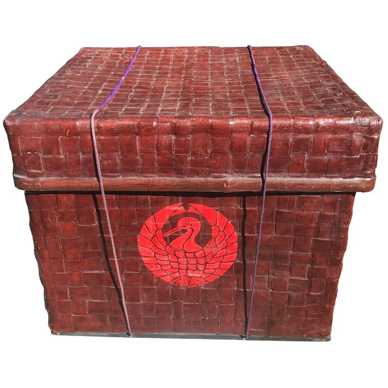 Japanese Big Antique Red Lacquered Bamboo Storage Chest, Meiji Period