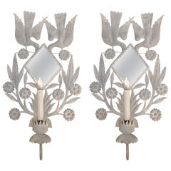 Magical Pair of Very Large Zinc Grey Tole Wall Sconces