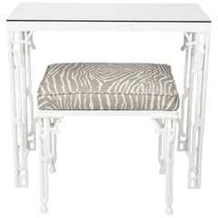 Chinoiserie White Metal Bamboo Style Console and Bench