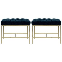 Tufted McCobb Style Brushed Brass Stools, 1950s