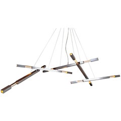 Large Five-Branch Grand Chandelier with Dynamic Hardware in White Graphite
