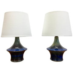Pair of Blue Danish Ceramic Table Lamps by Soholm, 1960s