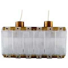 Carl Fagerlund for Orrefors Ceiling Lamp in Art Glass with Brass Fittings