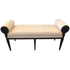 Moviestar Hollywood Regency Ebonized and Upholstered Bench