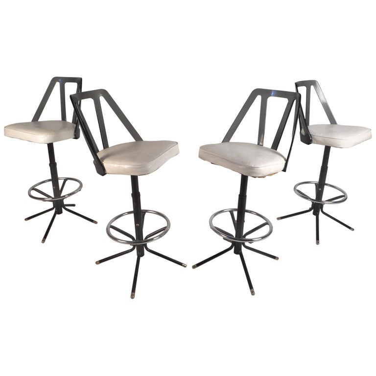 Set of Four Midcentury Smoked Lucite Swivel Bar Stools