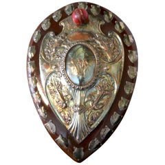 1901 Art Nouveau Sheffield Plate Cricket Trophy Shield by Walker Hall & Sons