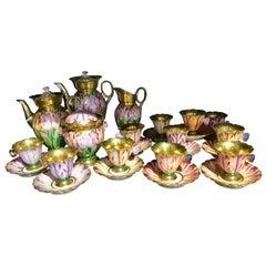 Exceptional Porcelaine de Paris Coffee Service, circa 1850, Tulips & Butterflies