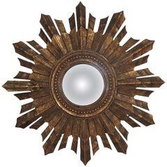 Italian Giltwood Convex Sunburst Mirror