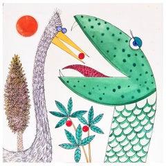 """""""Bird Feeds Snake,"""" Whimsical Children's Book Illustration by Blanchard, 1960s"""