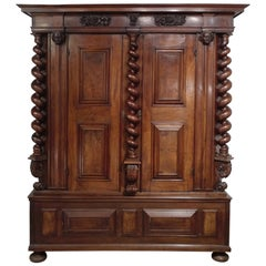 Early 17th Century Cabinet, Armoire, East of France, Heads and Floral Decor
